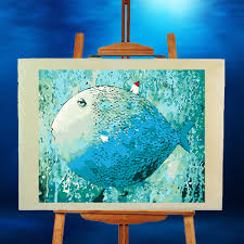 sleeping fish frameless diy oil painting by numbers handpainted canvas home wall art decor 40x50cm