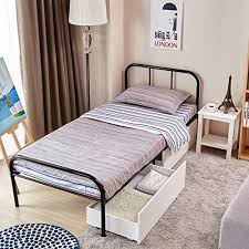 single bed size design. GreenForest Twin Size Bed Frame Stable Metal Slat Support Mattress Platform Foundation No Boxspring Needed With Headboard Footboard, Black Single Design