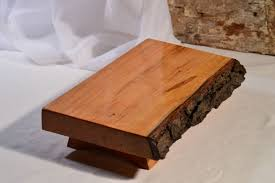 wild cherry natural edge bark on footed serving platter cutting board sushi