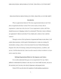 c organizational behavior development culture paper final organizational behavior