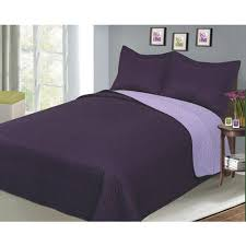 Luxury Fashionable Reversible Solid Color Bedding Quilt Set, Plum ... & Luxury Fashionable Reversible Solid Color Bedding Quilt Set, Plum/Lilac Adamdwight.com