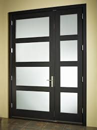 minimalist glass main door with black wooden frames and simple stainless steel handle