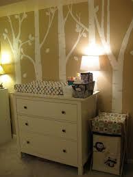 Artsy Woodland Animal Themed Nursery   Ikea dresser, Painted trees ...