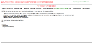 control checker work experience certificatequality control checker work experience certificate