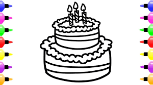 How To Draw A Cake Design On Paper Happy Birthday Drawing Easy Step