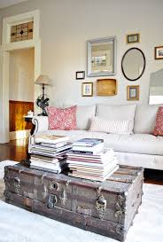 view in gallery old trunk coffee table brings some rustic charm to a living room