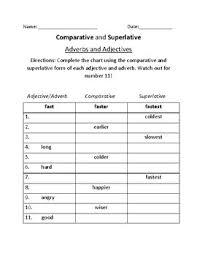 Superlatives Chart Worksheets On Comparative And Superlative Adjectives