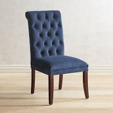 Audrey Ink Blue Dining Chair with Espresso Wood