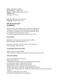 Resume Outline Resume For New Nursing Graduate Killer New Grad