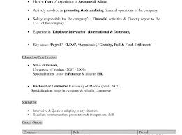 Resume Templates Best Samples For Mba Finance Freshers Format