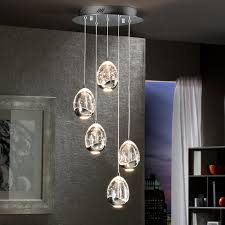 silver ceiling light with glass droplets