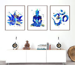 wall art decor set of 3 prints lotus om symbol yoga studio decor yoga