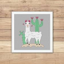 Llama Cross Stitch Pattern Pdf Cute Animal Hand Embroidery