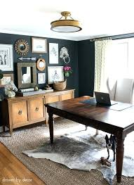 Image Shabby Chic Trendy Home Office Furniture Home Office With Charcoal Gray Walls And Eclectic Gallery Wall Above Credenza Furniture Stores Nyc Same Day Delivery Thesynergistsorg Trendy Home Office Furniture Home Office With Charcoal Gray Walls