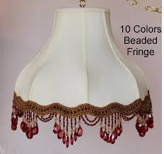 umbrella bell victorian lamp shade swag beaded fringe in 10 colors cream or white 16