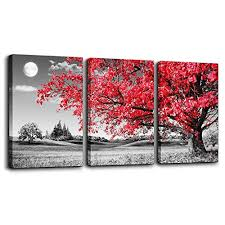 Family room wall art Vintage Canvas Wall Art For Living Room Black And White Red Tree Moon Landscape Painting Bedroom Wall Amazoncom Wall Paintings For Family Room Amazoncom
