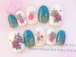 こーこ様専用両面あり 緑と青と紫とピンクのお花の和柄のネイルチップ244 2020 メルカリ