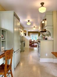 Kitchen:Inspiring Galley Cottage Kitchen Design With Cabinet Sconces And Semi  Flush Mount Ceiling Lights