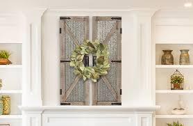 distressed wood metal barn door wall plaque pair