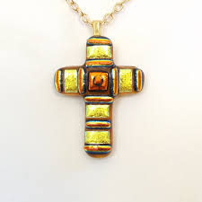 yellow gold and copper dichroic glass cross pendant yellow gold fused glass cross pendant large glass pendant