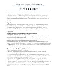 Objectives For Marketing Resume Entry Level Marketing Resume