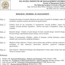 Features Of Good Research Design Syllabus Of Mba Programme Pdf Free Download
