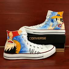 One piece series hand painted shoes are the mosr recommended on shoemycolor studio, you can design your own shoes here, find more anime shoes at link. One Piece Luffy Ace Converse All Star Hand By Wenartwork On Zibbet