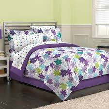 purple and green comforter bed sheet set for girls room