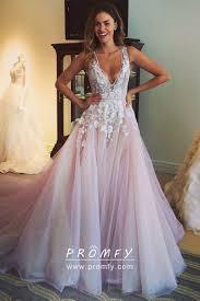 Long Light Dress White Floral Appliqued Light Pink Tulle Prom Dress