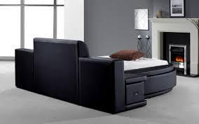 Round Beds Owen Black Leatherette Round Bed W Storage