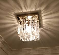 moooni w8 hallway square crystal chandelier 1 light mini modern flush mount ceiling light fixture