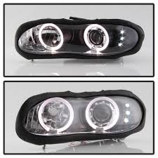 All Chevy 95 chevy headlights : 2002 Chevy Camaro Angel Eye Halo & LED Projector Headlights - Black