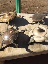 4 antique vintage brass art deco 5 light pan chandelier light fixture lamp parts