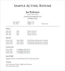 Audition Resume Template Amazing Musical Theatre Audition Resume Template Acting 28 Free Word Excel