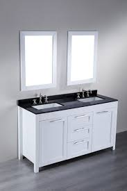 modern white bathroom. modern white bathroom vanity with black top and double wall mirror frames
