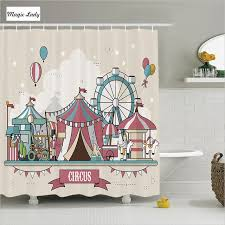 shower curtain kids bathroom accessories circus collection balloons park elephant horse pink blue home decor 180 200 cm