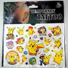 временная татуировка Pokemon Go Pikachu Cartoon Kids Boys Girls Temporary Tattoos Stickers Body Art
