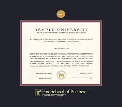 temple university diploma fox of business 1 09 to 10 18 frame with medallion and black and maroon double mat and gold embossing