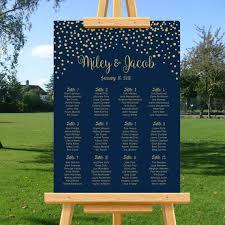 Elegant Wedding Seating Chart Gold Confetti Navy Blue