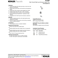kohler k ts10274 4 cp forte polished chrome one handle tub ritetemp 6030 at Ritetemp Thermostat Wiring Diagram