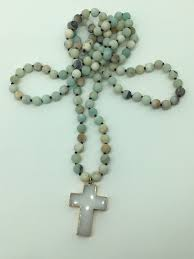fashion long knot matt ite stone cross pendant woman necklace holiday gift