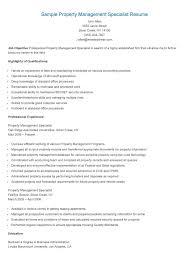 Sample Management Specialist Resume Sample Property Management Specialist Resume Property