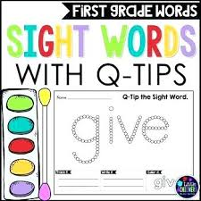 Dolch Primer List First Grade Sight Words Worksheets Q Tip Painting