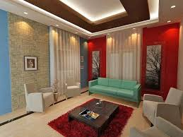 marvellous living room false ceiling design blue red painted wall white curtain cream floor red fur