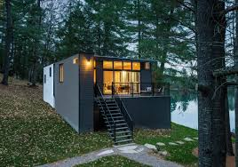 Contemporary Cabins Modern Prefab Cabin In Quebec Uses Innovative Wood Panels