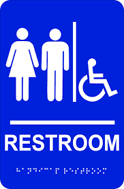 Beauteous Bathroom Sign At Handicap Restroom Brown S Signs Awards