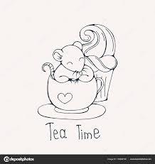 Illustratie Met Schattige Rat In Een Kopje Thee Of Koffie Met