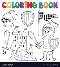 coloring book knight theme 1 vector image