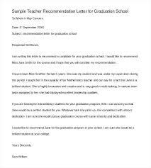 Scholarship Recommendation Letter Sample Sample Teacher Recommendation Letter For Graduation School