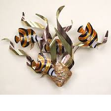 image is loading wall art banded angelfish metal wall sculpture nautical  on wall sculpture art metal with wall art banded angelfish metal wall sculpture nautical decor ebay